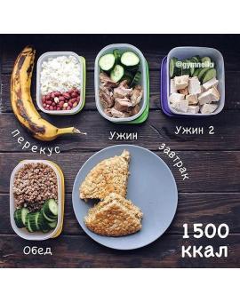 Рацион на 1500 ккал в день: простое меню, рецепты и продукты